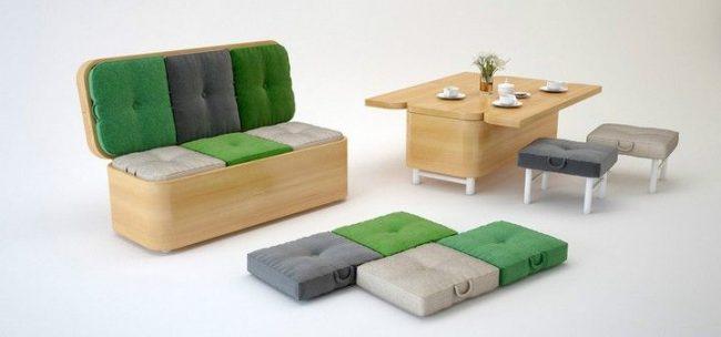 Canapé et table avec chaises en un seul meuble