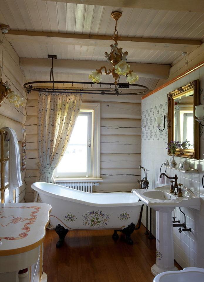 salle de bain dans une maison en bois