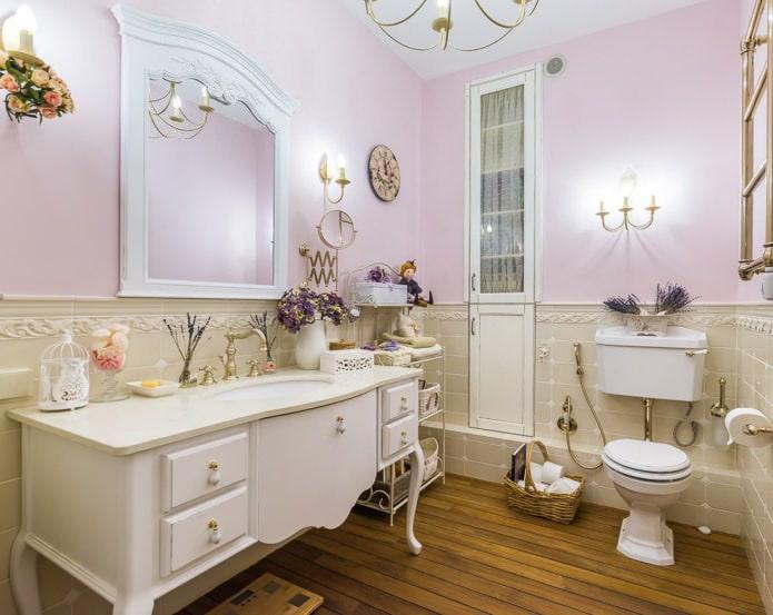 salle de bain en lavande et beige