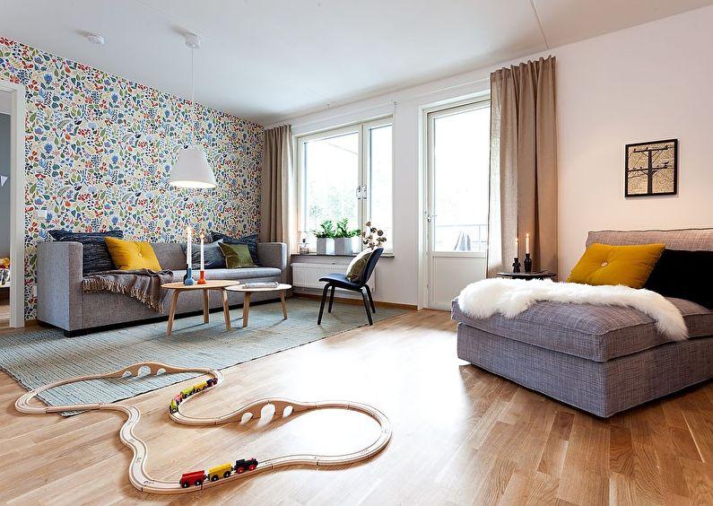 Papier peint pour le salon dans un style scandinave