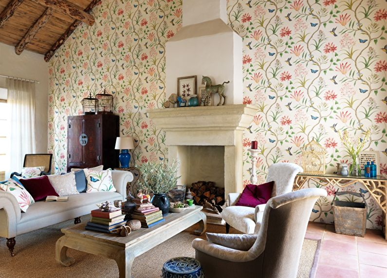 Papier peint pour le salon dans un style campagnard