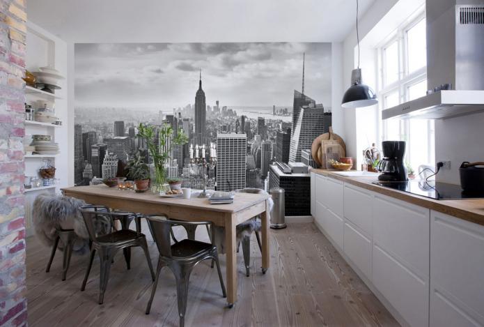 cuisine moderne avec papier peint photo