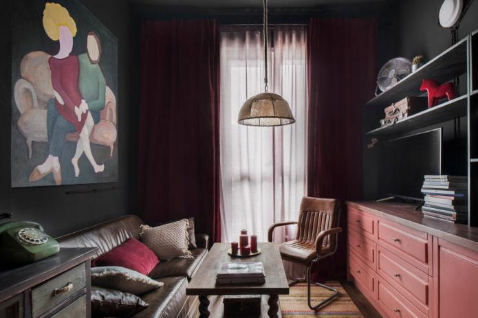 décoration à l'intérieur du salon dans un style urbain
