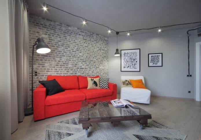 Salon avec plafond illuminé