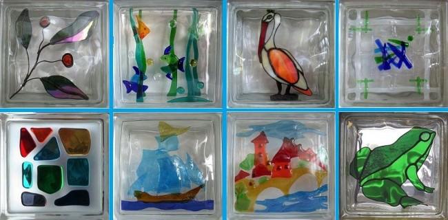 Décoration de blocs de verre dans le style du vitrail