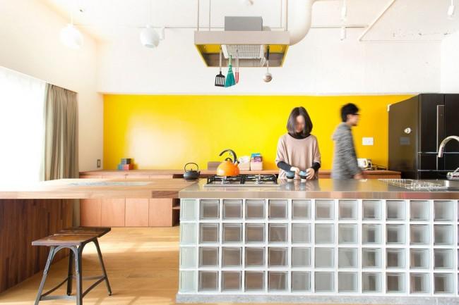 L'utilisation de blocs de verre à l'intérieur de la cuisine