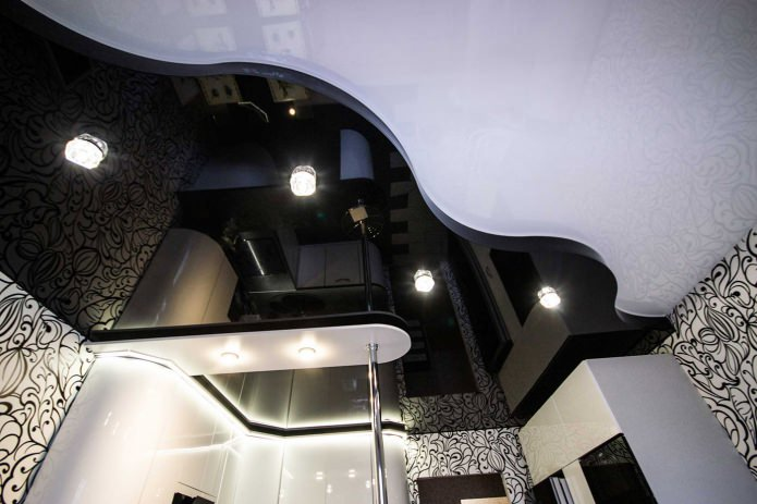 plafond tendu noir et blanc