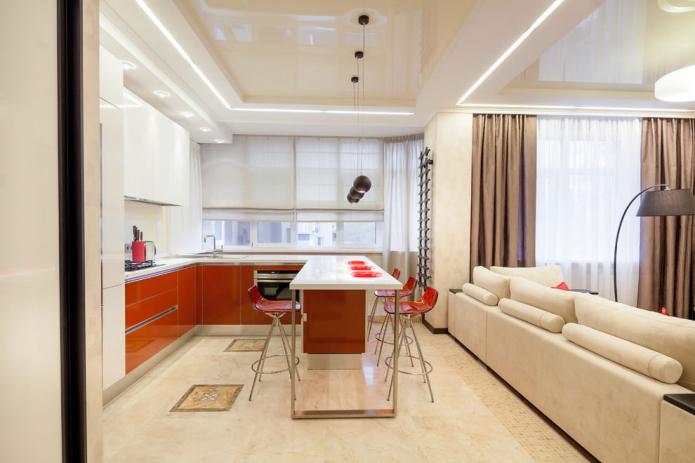 plafond à deux niveaux dans la cuisine-salon