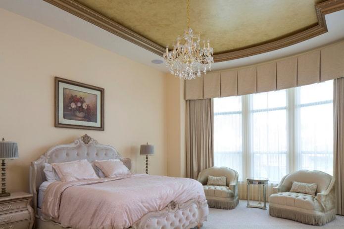 plâtre au plafond à l'intérieur de la chambre