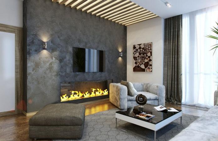 plâtre sur la cheminée à l'intérieur du salon