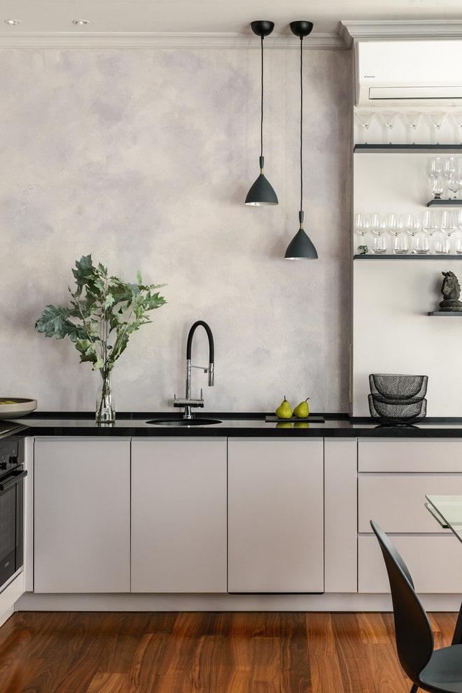 plâtre gris à l'intérieur de la cuisine