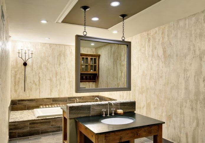 plâtre beige à l'intérieur de la salle de bain