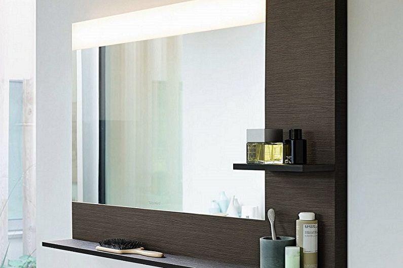 Types de miroirs de salle de bain - Miroir avec étagère