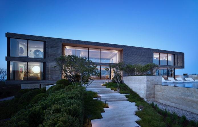 maison à toit plat high-tech