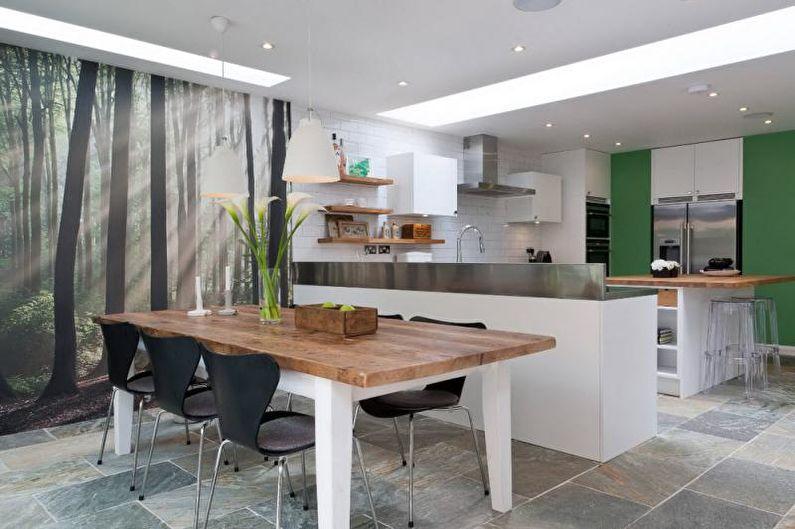 Photo murales dans la cuisine dans un style moderne