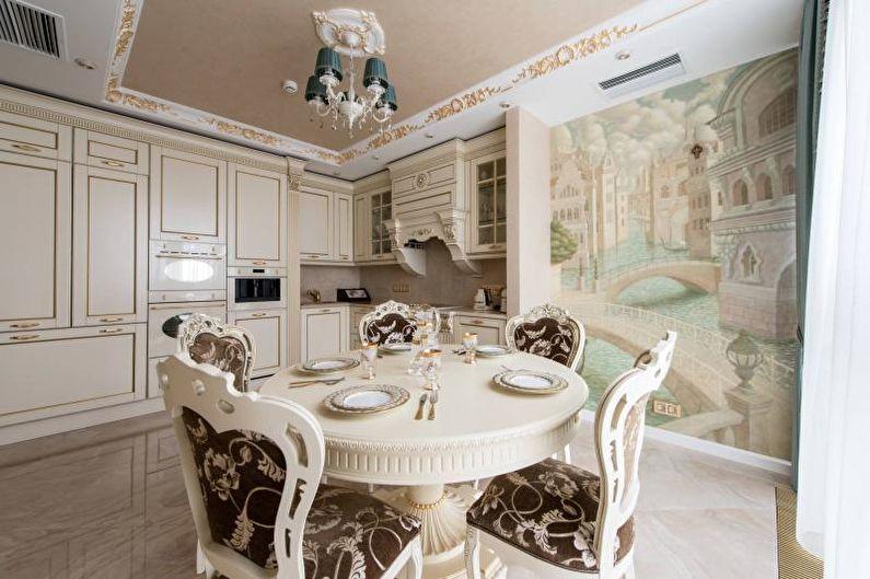 Papier peint dans la cuisine dans le style des classiques modernes