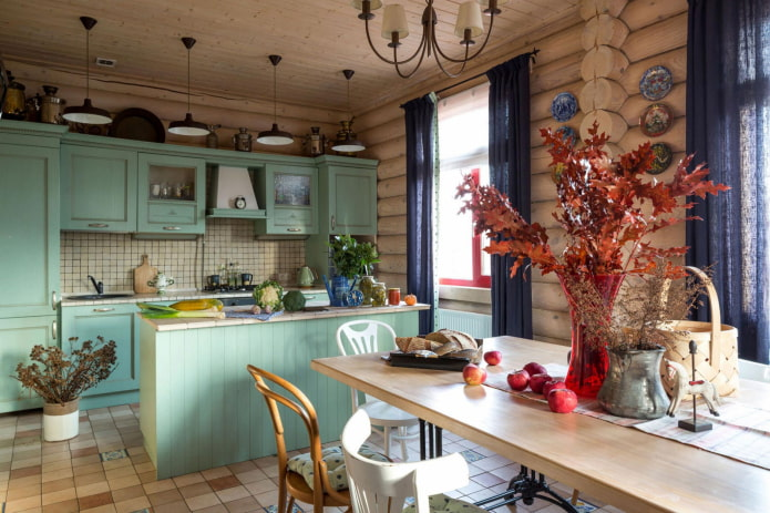 conception de cuisine à l'intérieur d'une maison en rondins