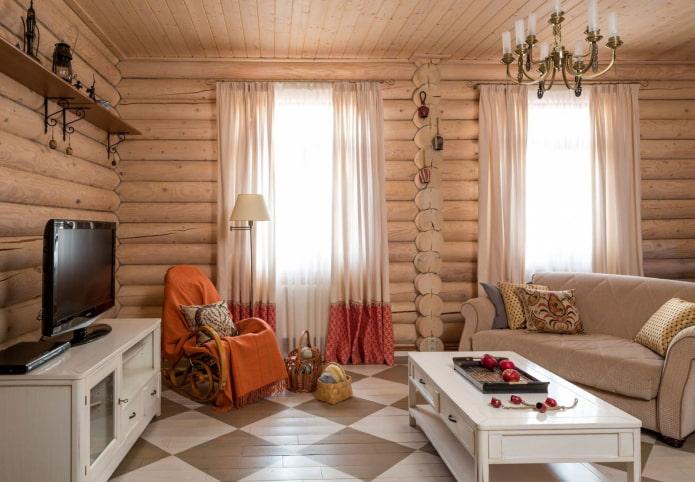 conception de salon à l'intérieur d'une maison en rondins