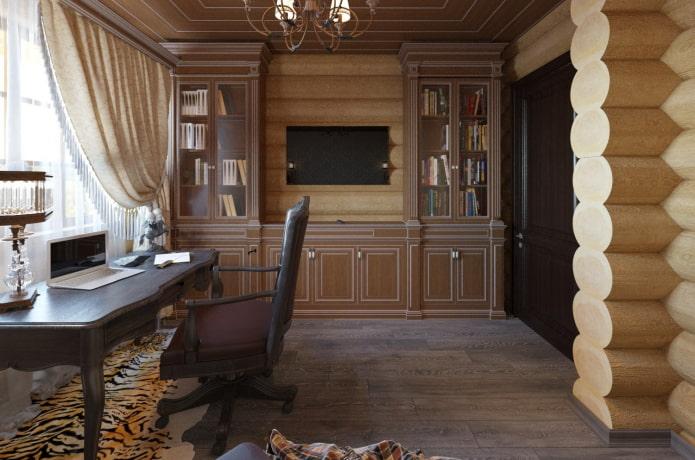 conception d'armoires à l'intérieur d'une maison en rondins