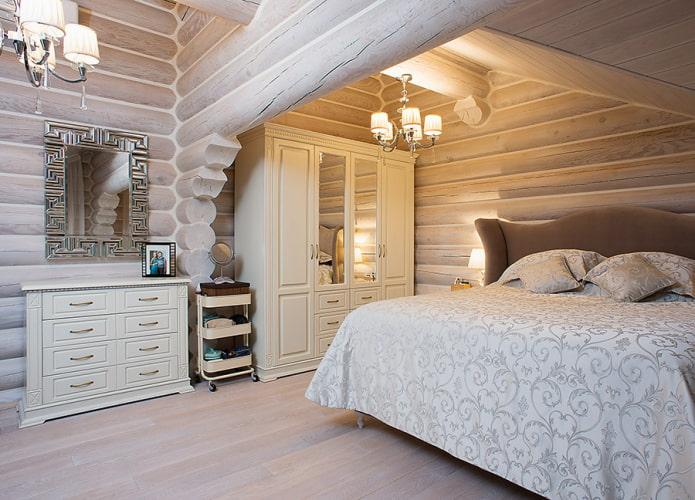 conception de chambre à coucher à l'intérieur d'une maison en rondins