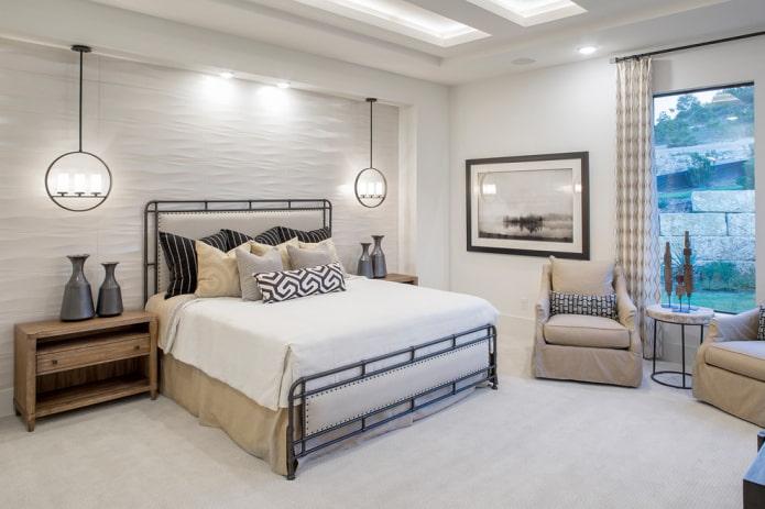 lit avec tête de lit en cuir à l'intérieur