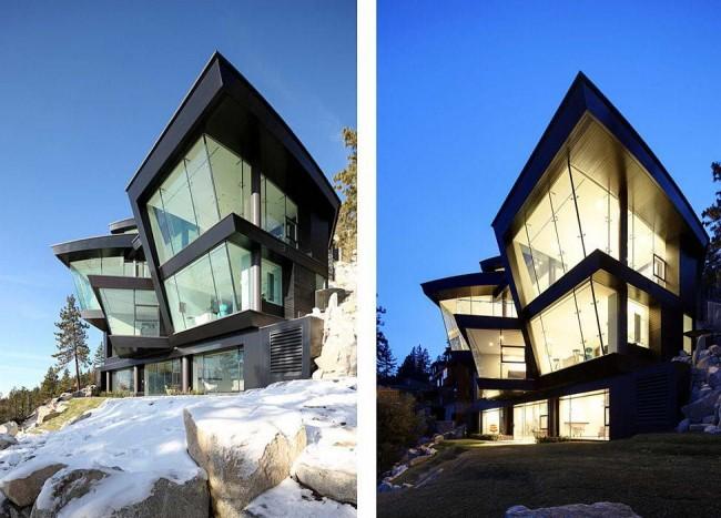 Une maison chic de forme atypique au style high-tech