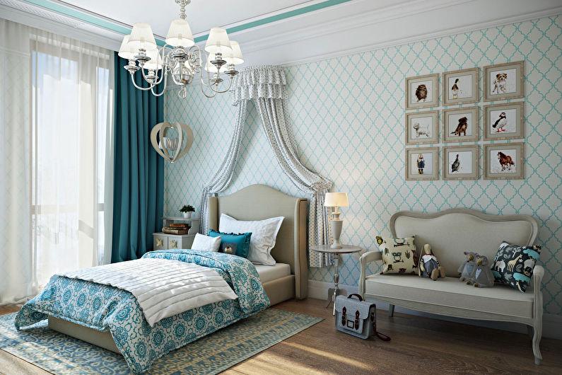 Conception d'une chambre d'enfant pour une fille dans un style classique