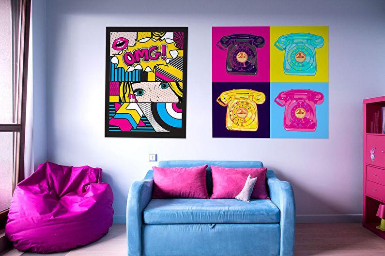 Conception d'une chambre d'enfant pour une fille dans le style du pop art
