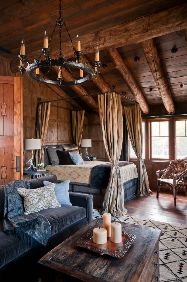 Lit à baldaquin dans la conception de chambre de style rustique