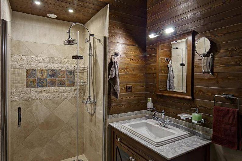 Salle de bain avec douche style campagnard