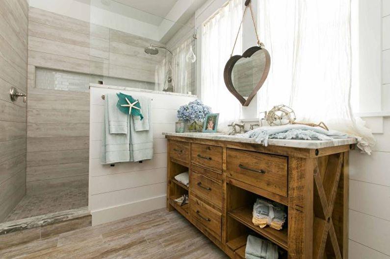 Salle de bain avec cabine de douche de style nautique