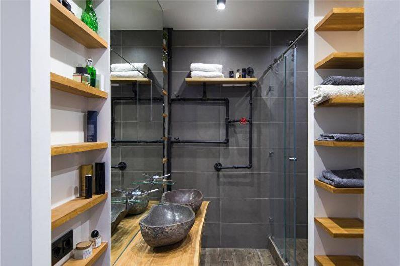 Salle de bain style loft avec douche