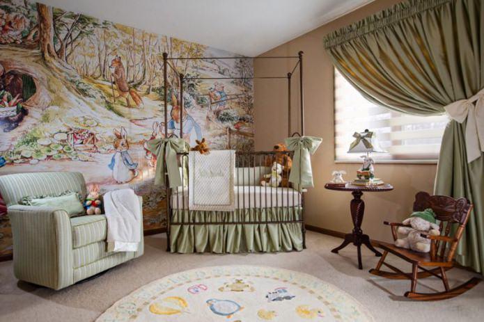 papier peint dans la crèche pour un nouveau-né