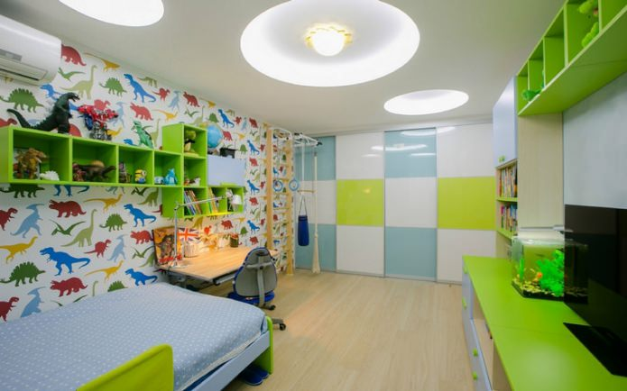papier peint avec des dinosaures dans la chambre des enfants pour un garçon de 3 à 6 ans