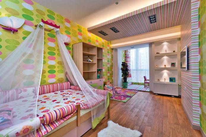 papier peint dans la chambre des enfants pour une fille de 3 à 6 ans