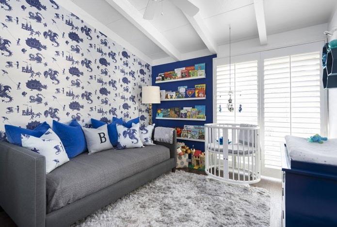papier peint blanc et bleu dans la crèche pour un garçon