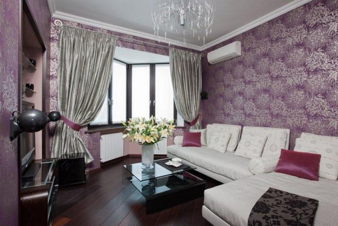 Papier peint violet moderne pour le salon