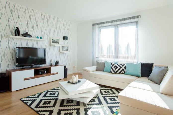 Papier peint clair dans le salon dans un style moderne