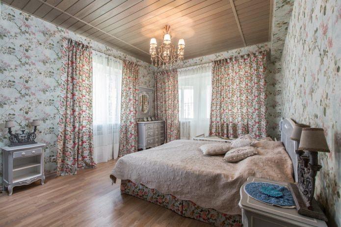 la palette de couleurs de la chambre dans le style provençal