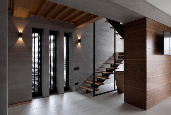 combinaison de bois et de béton à l'intérieur