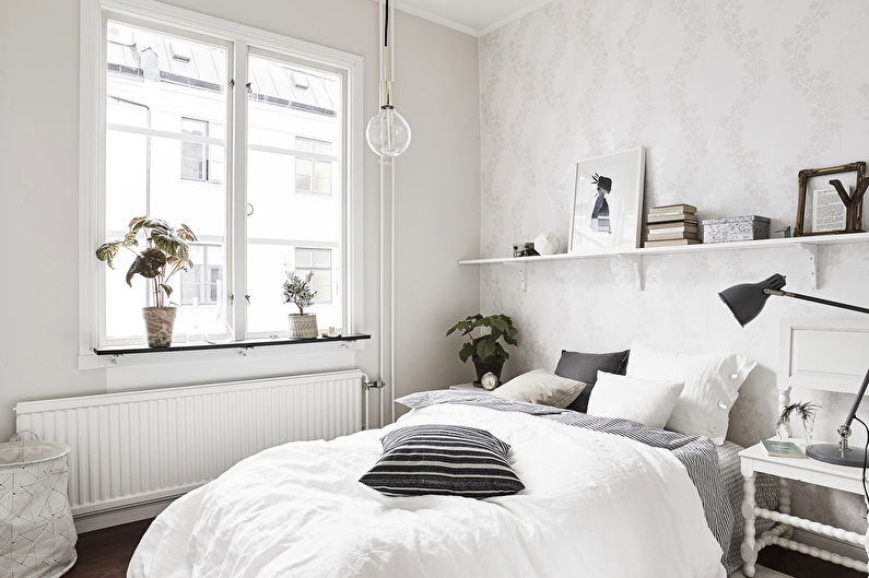 Conception de la chambre 12 m²  dans le style scandinave
