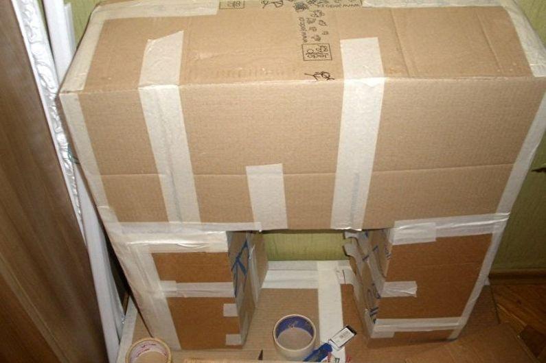 Faire un cadre d'une fausse cheminée de vos propres mains - À partir de boîtes en carton