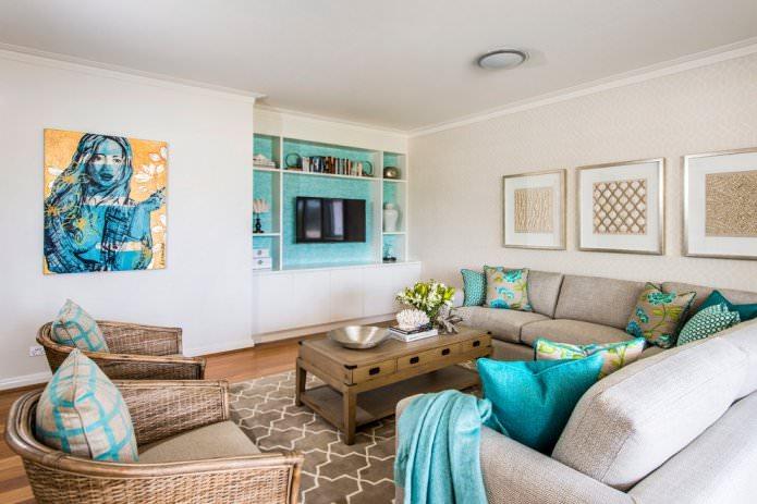papier peint beige moderne dans le salon