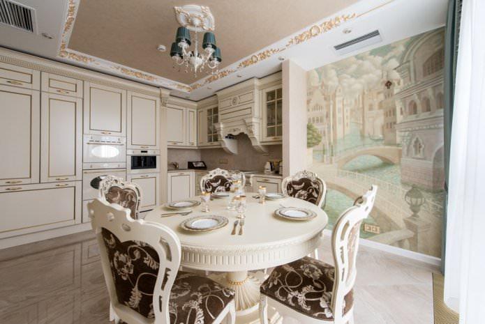 Conception de cuisine avec des photos murales beiges