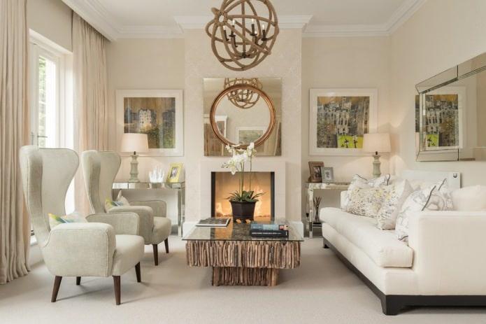 Papier peint beige à l'intérieur du salon