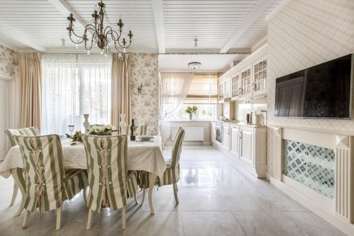 Conception de cuisine-salle à manger avec du papier peint beige
