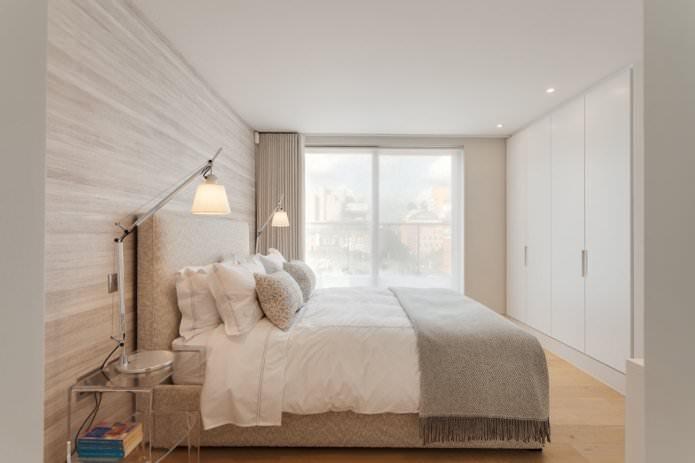 papier peint beige dans une chambre moderne