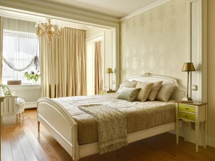 papier peint beige dans une chambre classique