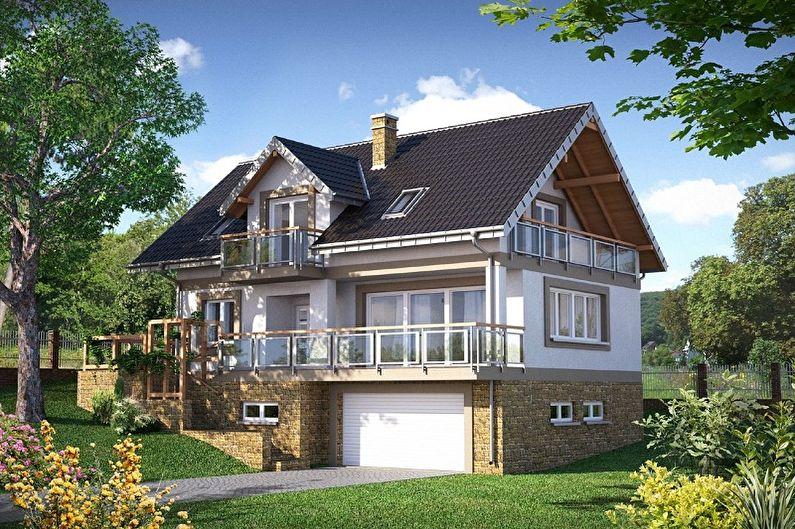 Conceptions de maisons de style chalet modernes - Maison de style chalet avec garage
