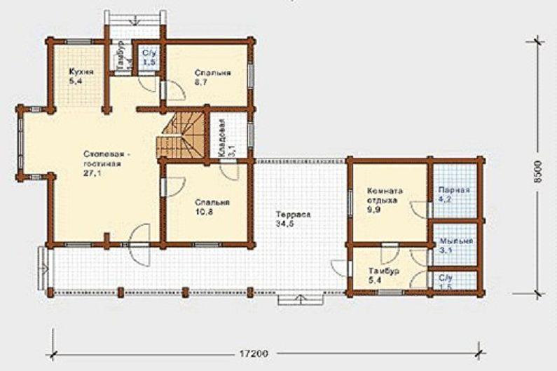 Conceptions de maison de style chalet moderne - Cottage avec sauna